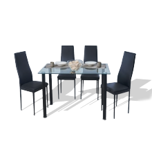 1+4 Seater Dining Set - Clear