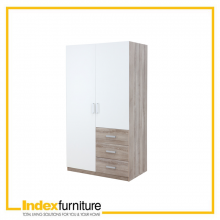 VINCE 2 DOORS WARDROBE 100 CM. - NATURAL/WHITE