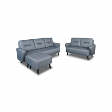 FABRIC SOFA SET WITH 2+3+1 STOOL - DARK GREY