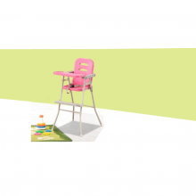 FOLDABLE BABY HIGH CHAIR - PINK
