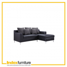 NIVAS PVC L-SHAPE SOFA  / L - BLACK