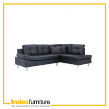 OVIRA PVC L-SHAPE SOFA/LEFT - BLACK