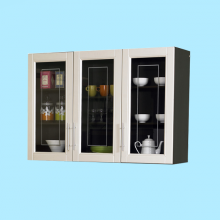 UPPER KITCHEN CABINET 3 GLASS DOOR - D/OAK