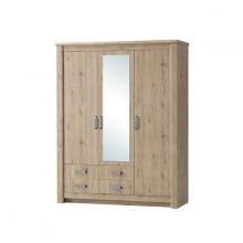 3 DOOR WARDROBE WITH MIRROR - SUMMER OAK