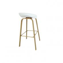 BAR CHAIR WHHITE SEAT WOOD GRAIN LEG BS-021