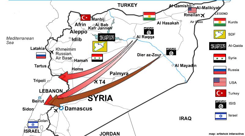 בעוד הצבאות האמריקנים, הרוסיים, והסורים נעים מזרחה לתקוף את ISIS. ארגון הטרור נע מערבה לתוך לבנון