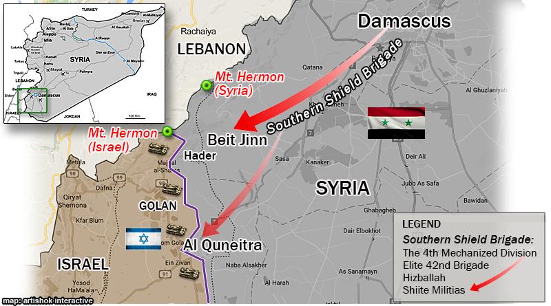 מתיחות שיא בגולן: החלה התקפת כוח סורי-איראני-חיזבאללה באזורי החרמון ומחוז קוניטרה. הכוח נערך להגיע עד לגבול ישראל