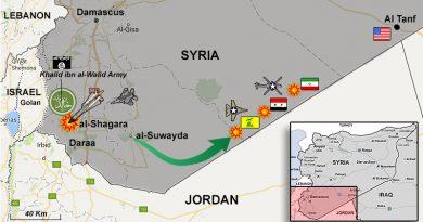 טיל אחד שנורה מהאוויר או מהקרקע חיסל את כל מפקדת כוחות ISIS בגולן הסורי. האמריקנים הפציצו כוח איראני-סורי ליד גבול ירדן