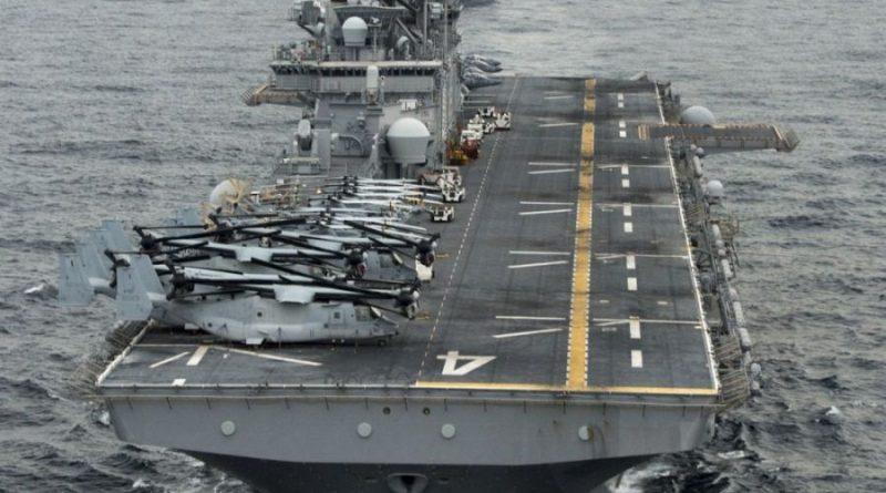 """הנשיא טראמפ: אוניית הצי 'בוקסר' USS Boxer יירטה מל""""ט איראני והשמידה אותו במצרי הורמוז"""