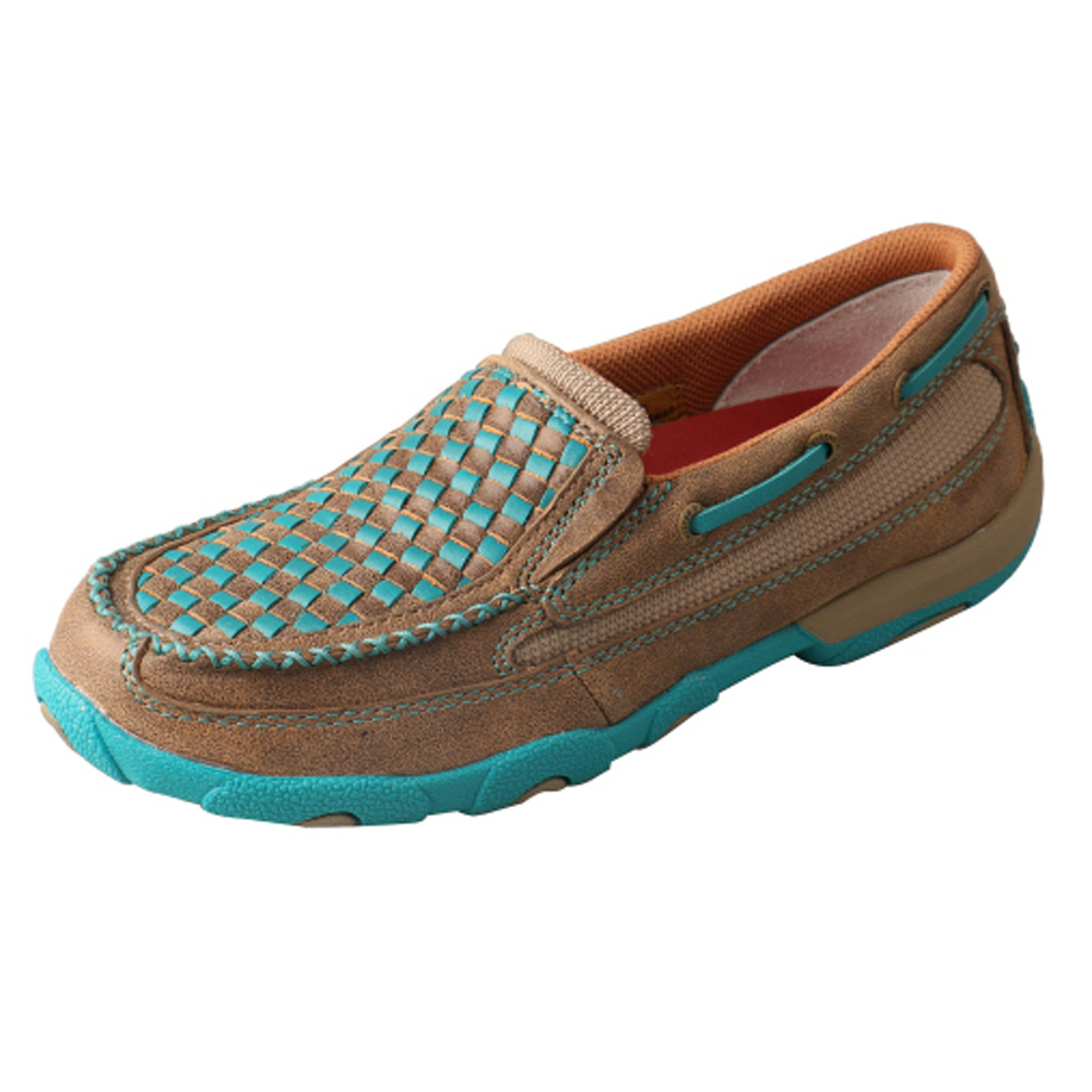 Twisted X Women's Slip-On Driving Moccasins – Bomber Brown and Turquoise