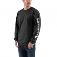 4d1ac26d4a3d ... Carhartt Signature Sleeve Logo Long-Sleeve T-Shirt Black K231BLK