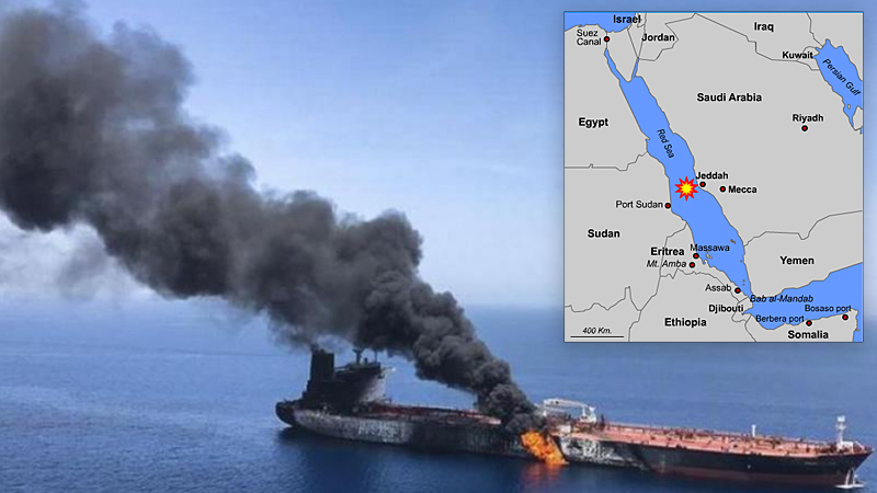 Two missiles set an Iranian tanker on fire near the Saudi coast