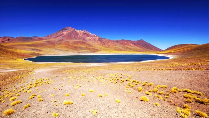 Vista hacia Lagunas Altiplánicas de Atacama y cerro de fondo