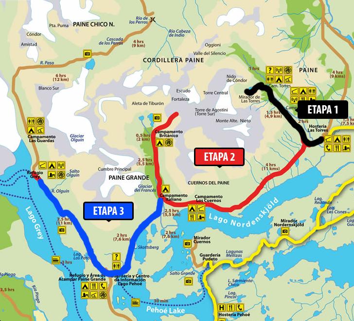 Circuito W Torres Del Paine Mapa : Torres del paine fotos extraordinarias circuito w