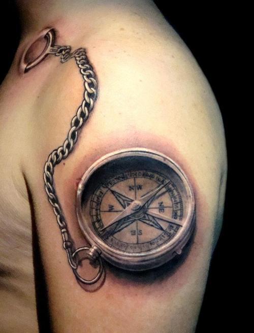Brujula Tattoo 3d