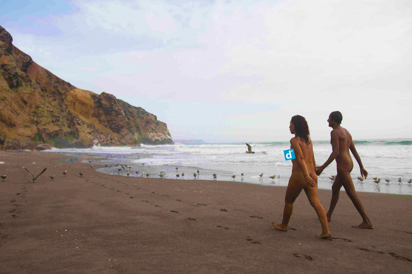 Pareja de nudistas caminando por la orilla del mar