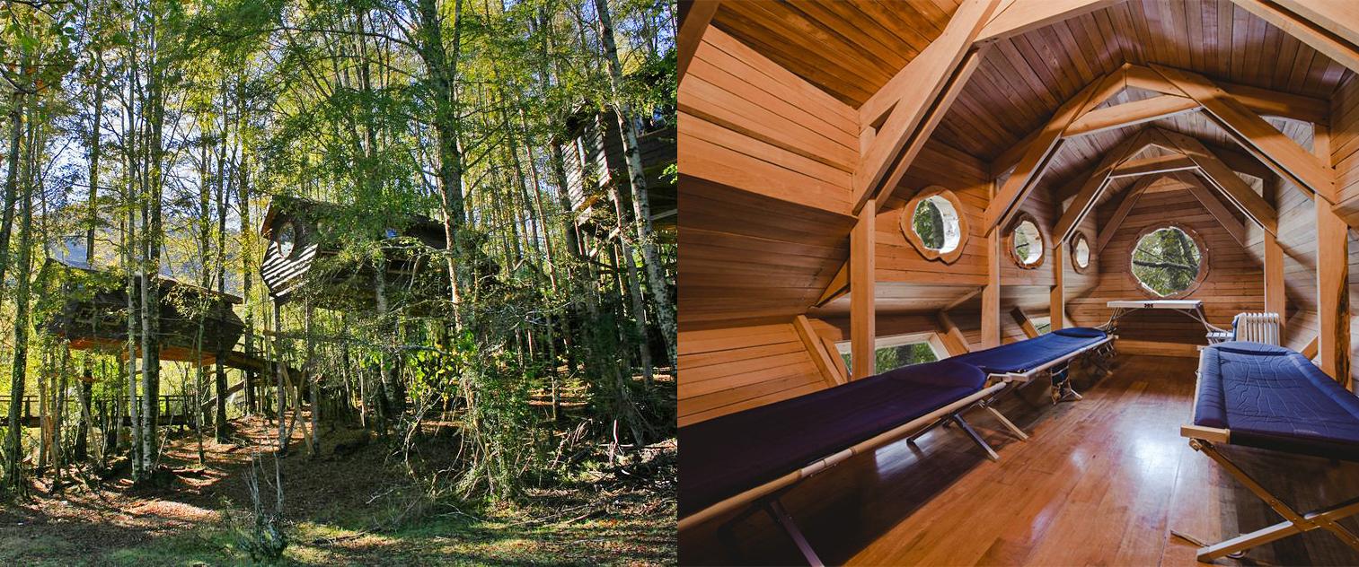Cabañas por dentro y fuera en el bosque