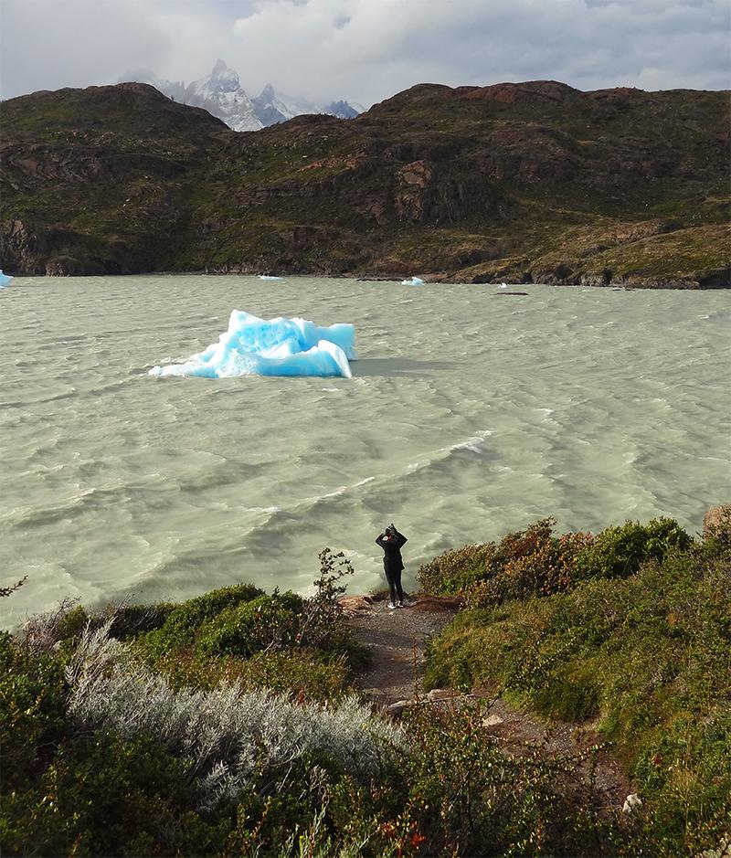 Patagonia en otoño lago y iceberg