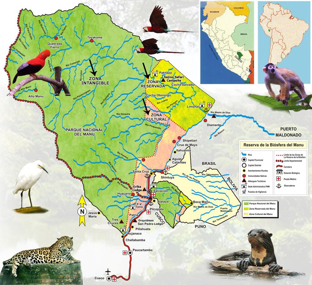 mapa del parque nacional manu