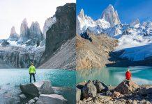 dos viajeros frente a paisaje patagonico