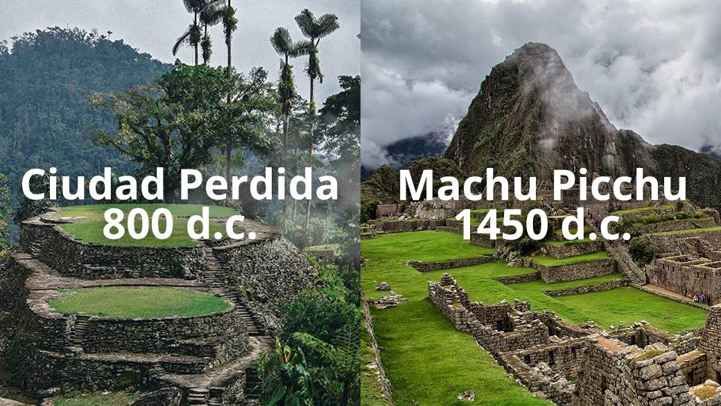 Edad de la Ciudad Perdida vs Machu Picchu