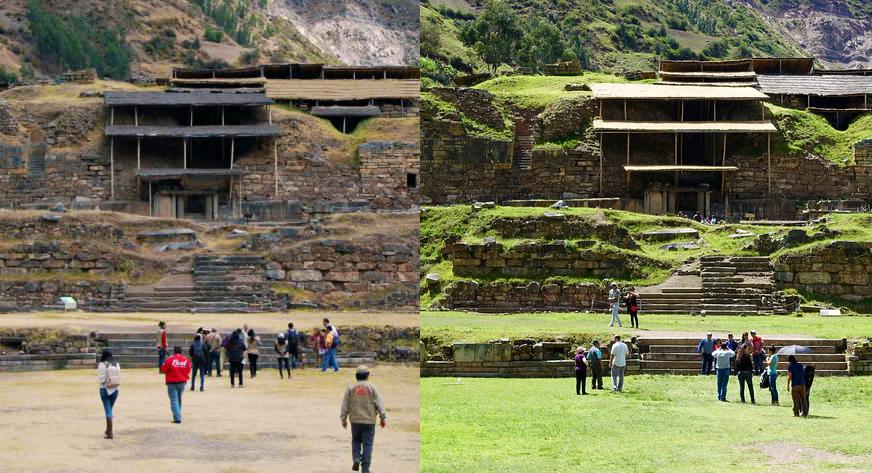 Ruinas arqueológicas en dos épocas distintas del clima en Huaraz