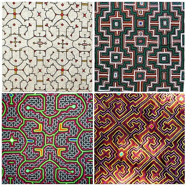 Cuatro diseños shipibo distintos