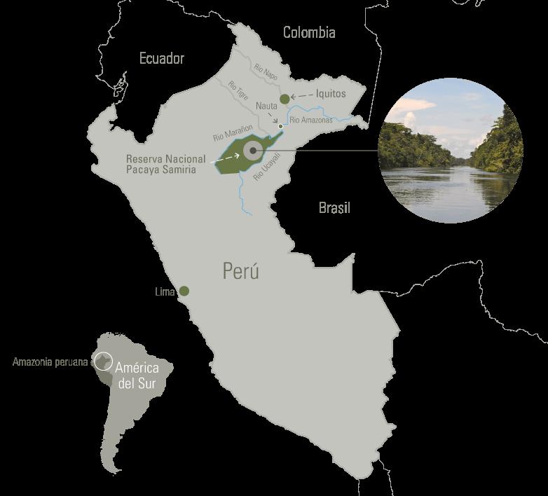 Ubicación de Pacaya Samiria en el mapa