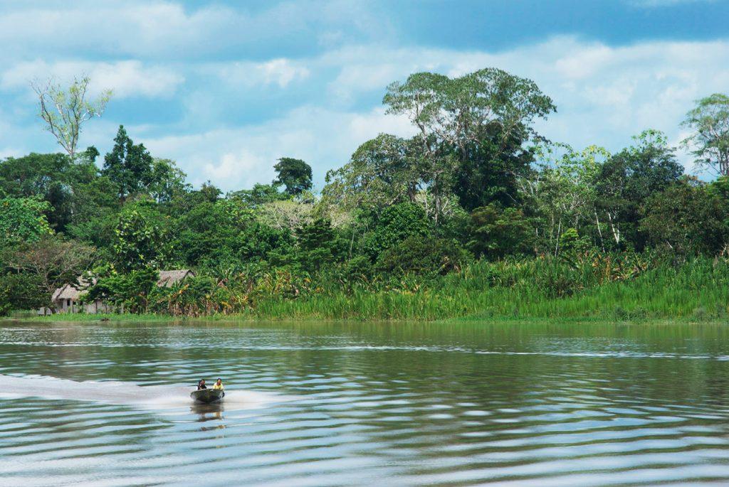 Viajeros navegan por río de amazonas en pacaya samiria