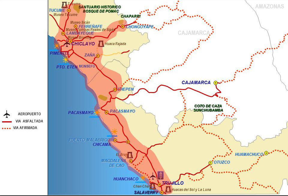 Mapa de la ruta moche en el norte del Perú