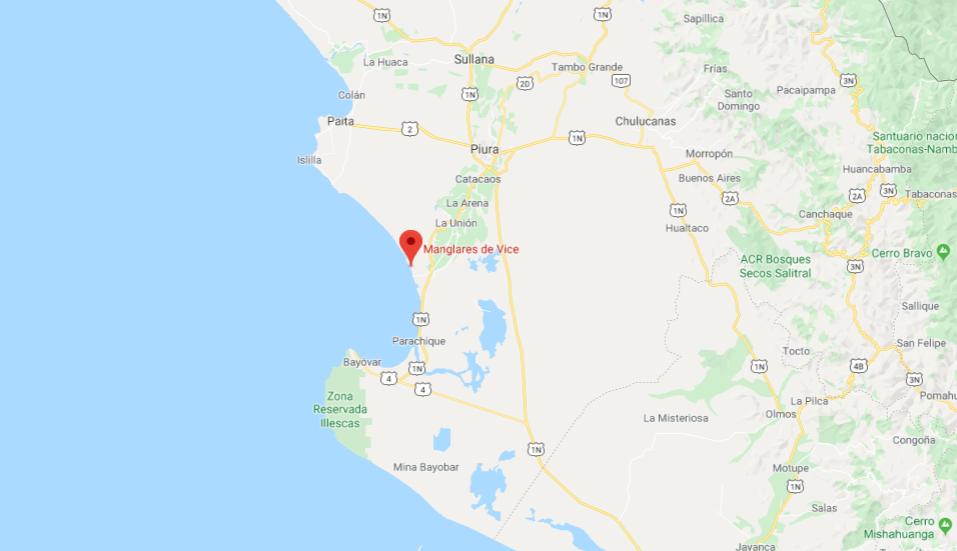 Mapa de ubicación de manglares de san pedro vice