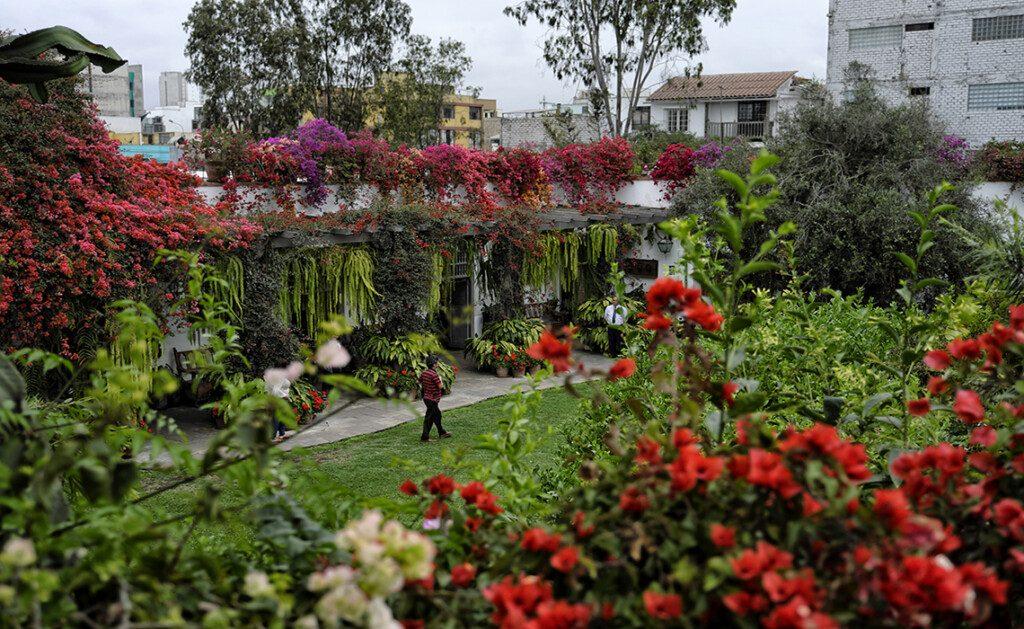 Mujer caminando por bello jardín en Lima