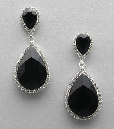 Black and Rhinestone Earrings image 1