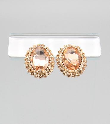 Peach Oval Stud Earrings image 1