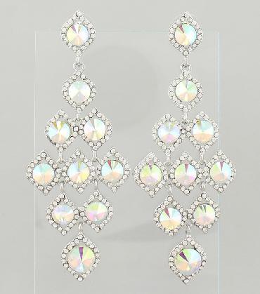 AB / Clear Chandelier Earrings image 1