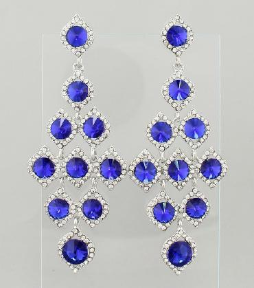 Royal Blue and Clear Rhinestone Large Pageant Earrings image 1