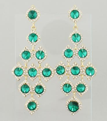Emerald Green and Clear Rhinestone Large Pageant Earrings image 1