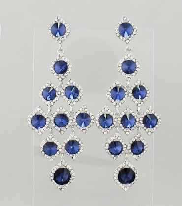 Navy Blue and Clear Rhinestone Large Pageant Earrings image 1