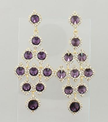 Purple and Clear Rhinestone Large Pageant Earrings image 1