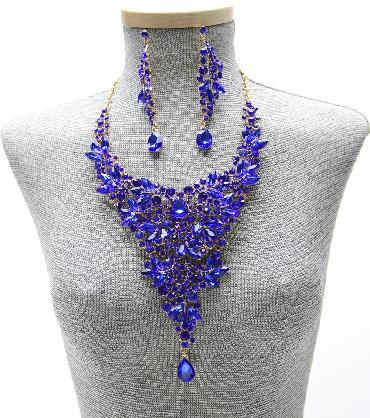 Statement Royal Blue Crystal Necklace Set image 1