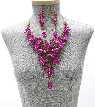 Pink Fuchsia Statement Necklace and Earrings Set image 1