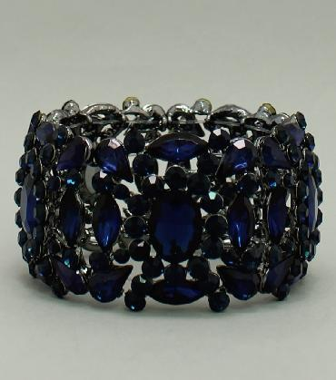 Wide Navy Blue Rhinestone Pageant Bracelet image 1