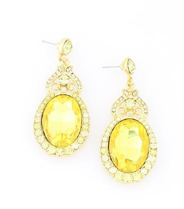 Yellow Rhinestone Dangle Prom Earrings image 1
