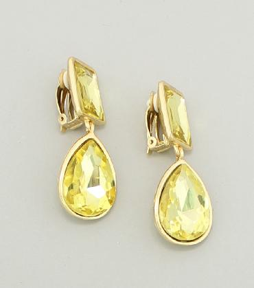 Yellow Rhinestone Clip On Pageant Earrings image 1