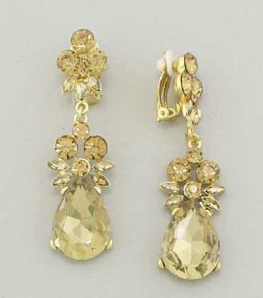 Gold Clip On Prom Earrings image 1