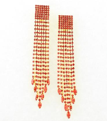 Red Extra Long Pageant Clip On Earrings image 1