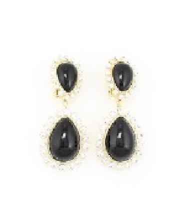 Black and Rhinestone clip on earrings image 1