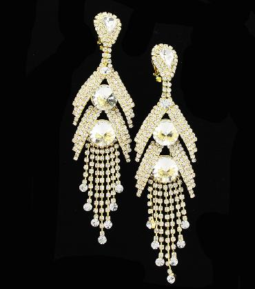 extra long dangle crystal earrings clip on image 1