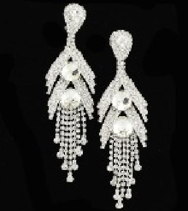 Image of extra long dangle crystal earrings clip on