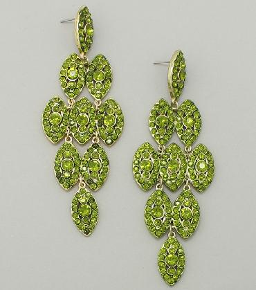 Green Chandelier Pageant Earrings image 1